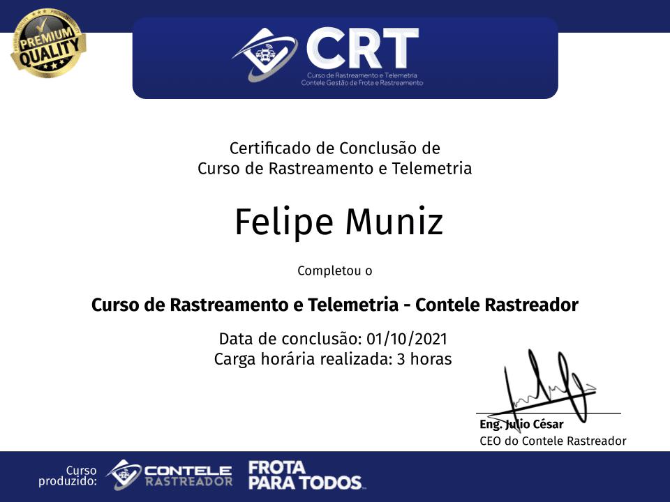 Certificado do Curso de Rastreamento e Telemetria do Contele Rastreador